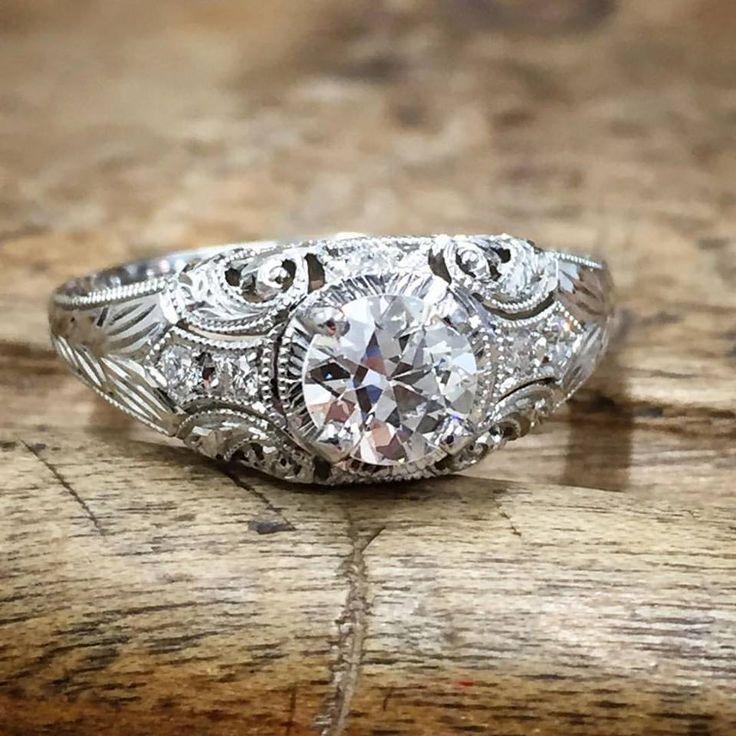 WEDDING RINGS DRAGON U PHOENIX Superb Whitehouse Brothers Romanesque Arcade Vintage Style Edwardian Era Engagement Ring