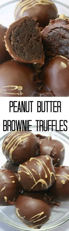 Peanut Butter Brownie Truffles ~ You have to try this delicious truffle recipe... The combination of smooth chocolate, creamy peanut butter, and moist brownie will have your mouth watering!