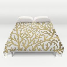 Gold Coral Duvet Cover