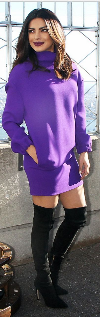 Who made Priyanka Chopra's purple turtleneck dress and black thigh high boots?