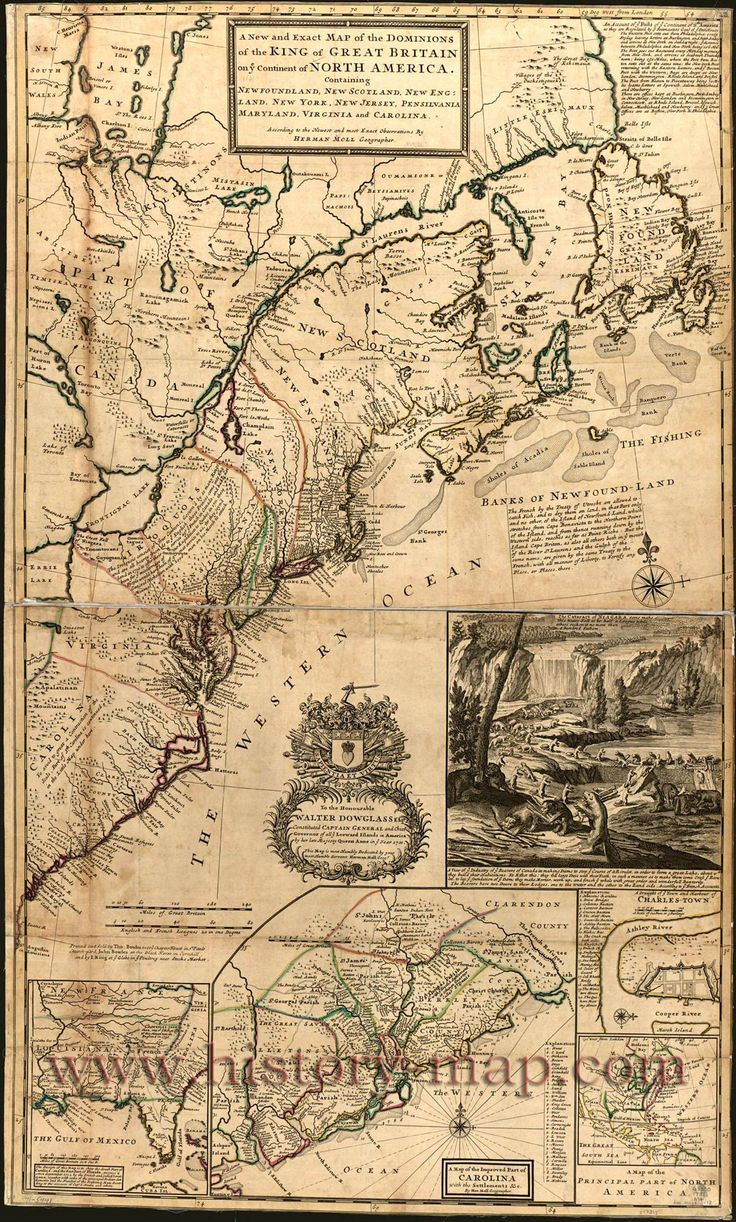 Map of America 1713 Old America map