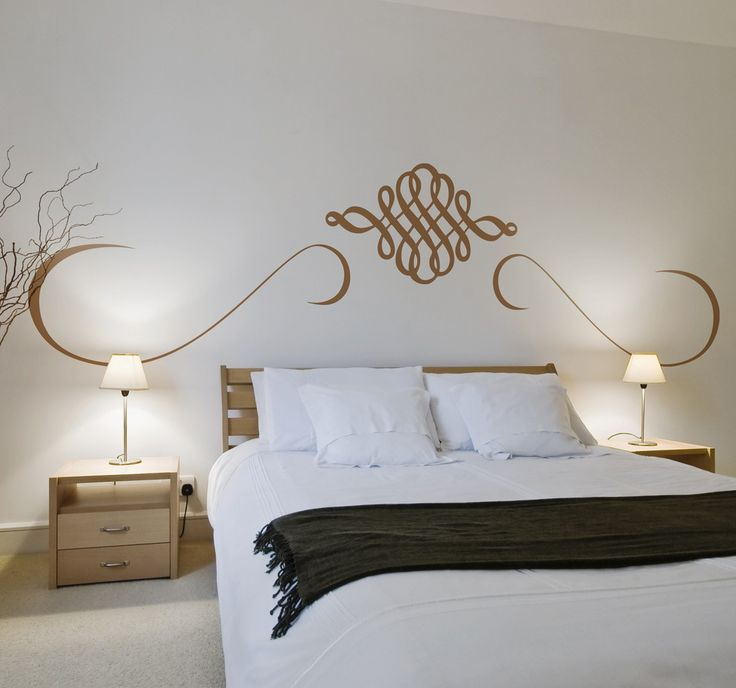 Fantastic symmetrical wall sticker, perfect for decorating a master bedroom.  A sticker with an oriental and arabesque design that is made especially to place on top of your bed, to give an exotic atmosphere. Perfect for adding a classy and stylish touch. #Decorate #WallSticker #Elegant