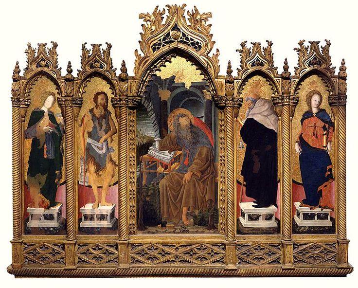 """SQUARCIONE. """"Polittico de Lazara"""". tempera su tavola. 175x220 cm. 1449–1452. Museo Civico di Padova."""