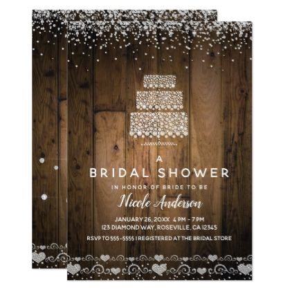 Glam Diamond Bling Cake Rustic Wood Bridal Shower Card - barn wedding gifts template diy customize personalize marriage