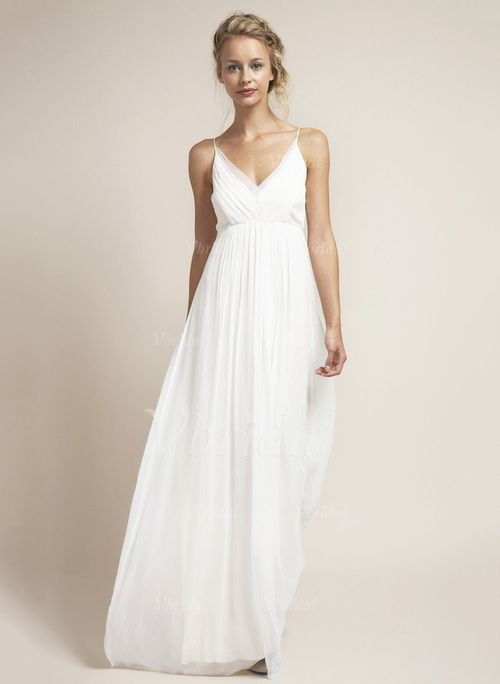 Brautkleider - $95.19 - Empire-Linie V-Ausschnitt Bodenlang Chiffon Brautkleid mit Rüschen (0025096471)
