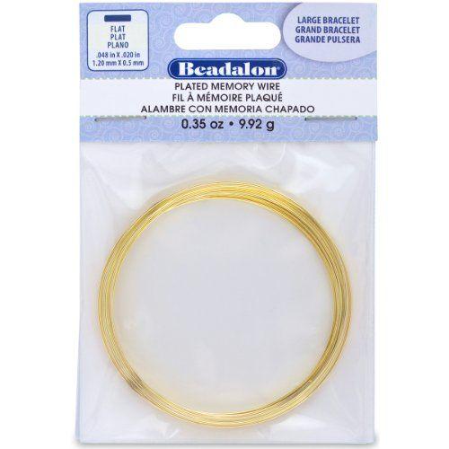 Beadalon Large Flat Bracelet Memory Wire for Beading, 0.35-Ounce, Gold