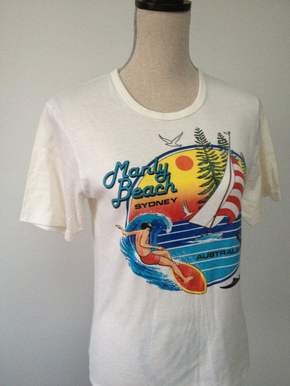 RARE Vintage Manly Beach Australia Tshirt by 21Vintage on Etsy, $80.00