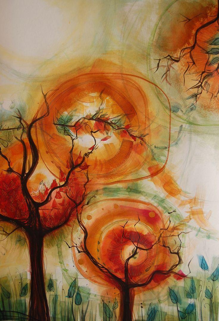 ¨yo soy un árbol¨ .Acuarela, tinta y grafito sobre papel  70 cms x 1mt. Ana Milena Gómez 2016