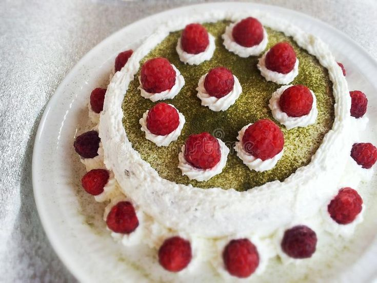 Photo about Matcha cake with raspberry and whipped cream. Image of close, food, sweet - 89164490