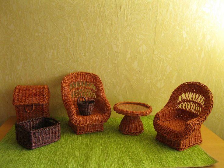 Doll furniture set  1:6 Paper wicker