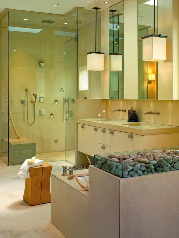 Captivating Calming Bathroom Oasis With Spa Stones | HGTVRemodels.com Part 29