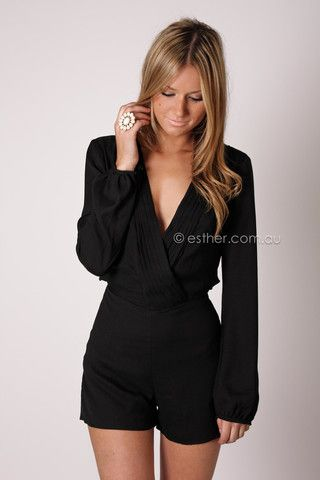 Long Sleeve Romper for Fall, would look very cute with gold tone accessories, sheer tights and black booties