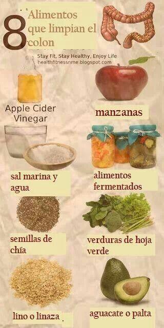 8 alimentos que limpian el colon #salud #infografía