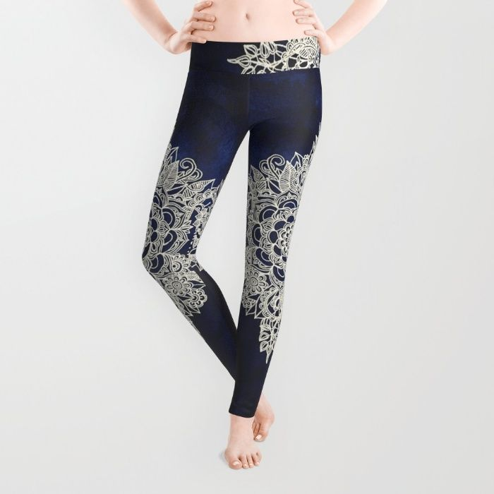 Cream Floral Moroccan Pattern on Deep Indigo Ink Leggings by Micklyn | Society6