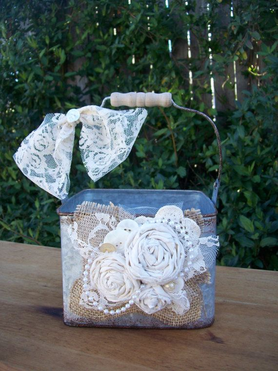 Rustic Flower Girl Basket Country Flower Girl Basket by OneFunDay, $35.00