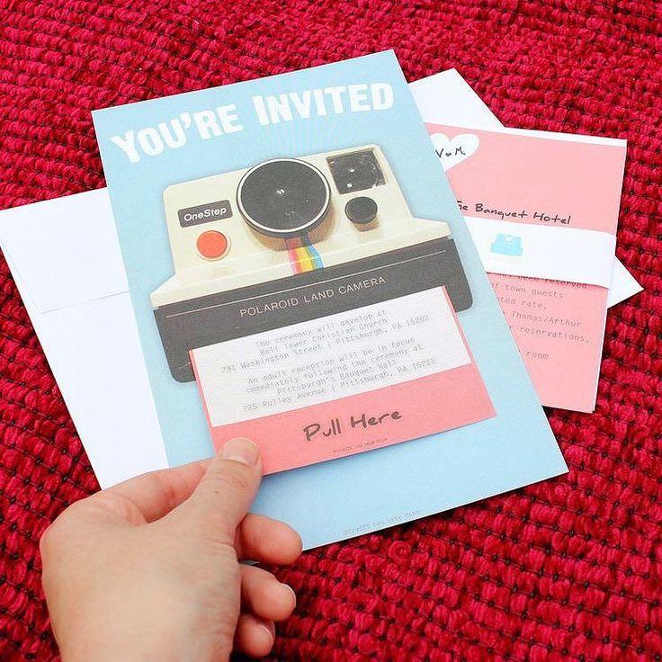 Polaroid wedding invitation. Its fun but still classic themed. by weddingcard