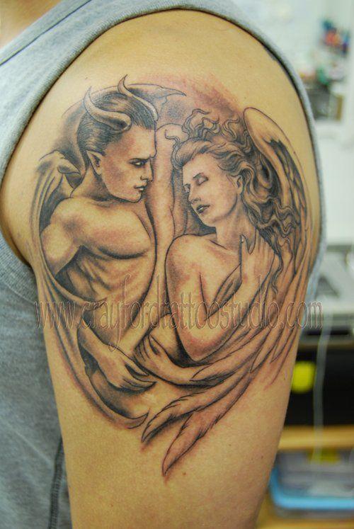Devil and Angel Tattoo - 60 Holy Angel Tattoo Designs  <3 <3