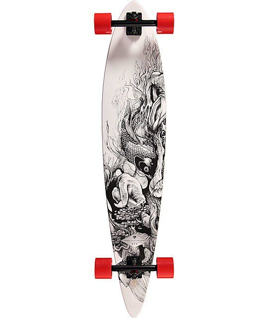 Get an updated new ride with a DZO artwork Koi fish graphic on a bamboo pintail shape for responsive carving and stability under speed.