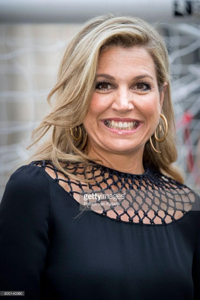 Queen Maxima of The Netherlands attends a soccer clinic with dutch former players Clarence Seedor, Aaron Winter, Pierre van Hooijdonk and Edgar Davids at the Piazette Real during the third day of a royal state visit to Italy on June 22, 2017 in Rome, Italy.