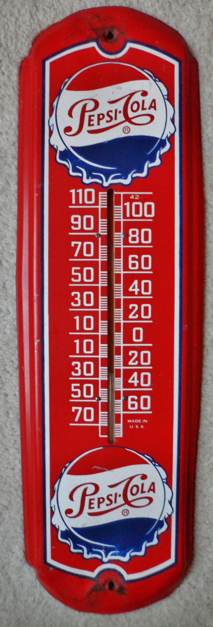 Vintage Pepsi Cola Thermometer Advertising Sign, circa 1950's