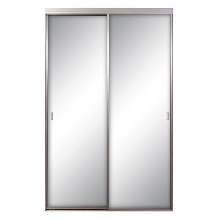 Contractors Wardrobe Asprey 84 in. x 81 in. Satin Clear Mirrored Aluminum Interior Sliding Door, Satin Clear Finish