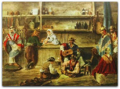 """interior de Pulpería´´, uma obra de Jean Léon Pallière (1858),  A pulperia faz parte do álbum de Pallière """"Cenas americanas"""". A pulperia """"era o lugar de reunião dos gaúchos. Nela podia ser jogada uma partida de cartas ou podia ser combinada uma corrida de cavalos"""".   http://sergiozeiger.tumblr.com/post/106817881938/jean-leon-palliere-grandjean-ferreira-tambem"""