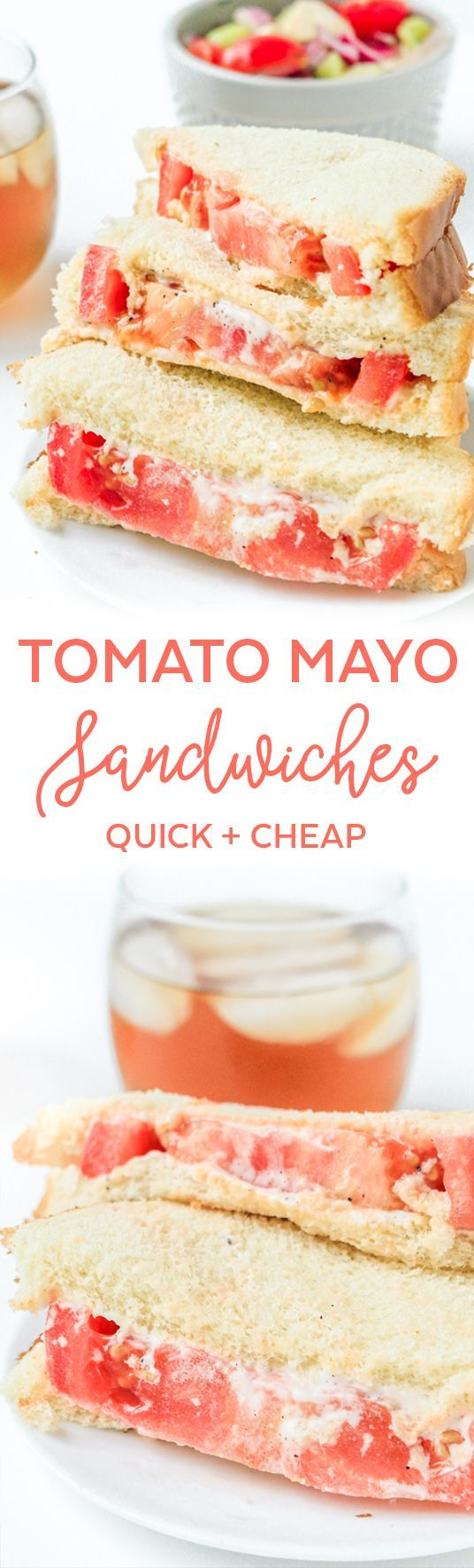 Tomato Mayo Sandwich - Tomato Sandwich Southern - Southern Food Recipes - Classic Southern Recipes - Cheap Meals on a Budget Meals - Cheap Meals Under $5 Frugal Meals for Two