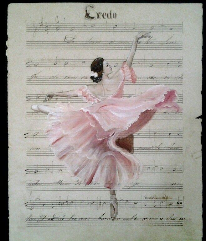 Ballerina su spartito fine ottocento