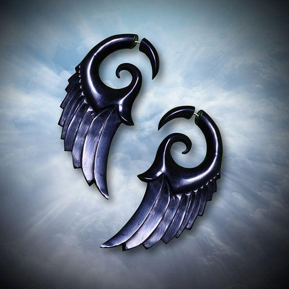 Dark Angel Wings  Fake Gauges  EcoFriendly by PrimalOriginals, $22.00