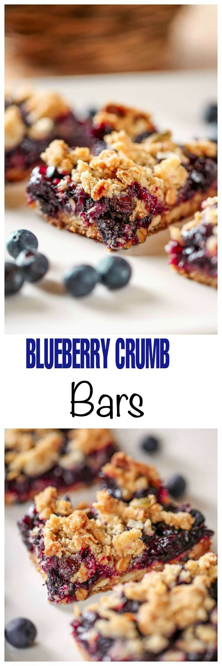 Blueberry Crumb Bars: These bars are full of juicy blueberries and are topped with a super crunchy crumb topping of toasted oats, dried blueberries, and sunflower seeds.