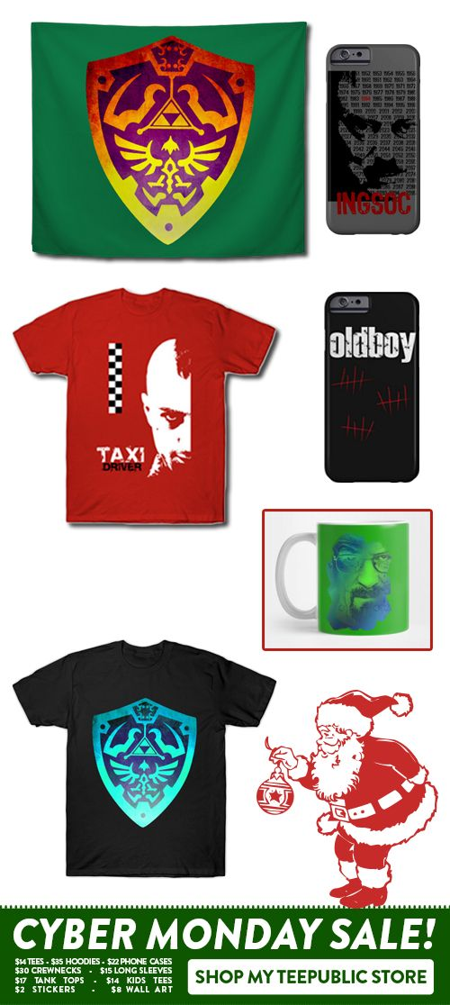 $14 T-Shirts Sale! Movie, TV shows & Gaming T-Shirts by Scar Design. #cybermonday #cybermonday2017  #iphonecase #walltapestry #gaming #gamer #geek #movietshirts #mug #taxidriver #scorsese  #breakingbad #1984movie  #tvshow #tshirt #taxidrivergmovie #xmasgifts #christmasgifts #movie #online #shopping #sales #tshirts #discount #save #39 #style #fashion #family #gifts #giftsforhim #giftsforher #cinema #onlineshopping #teepublic #thelegendofzelda