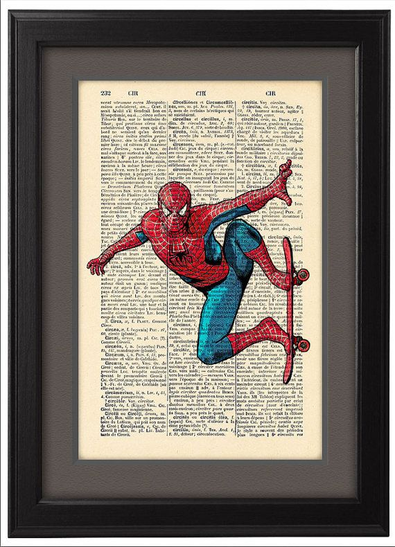 Spiderman comic style, Dictionary Print Book Pages, Home Dorm boy room Decor, College DORM Decor, Cool gift idea for boyfriend, CODE/122