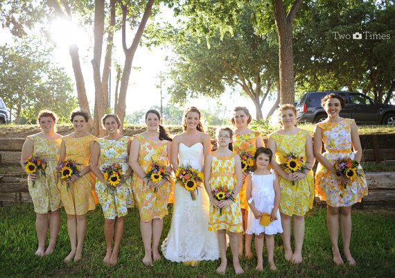Vintage Inspired Bridesmaid dresses YELLOWS by sohomode on Etsy