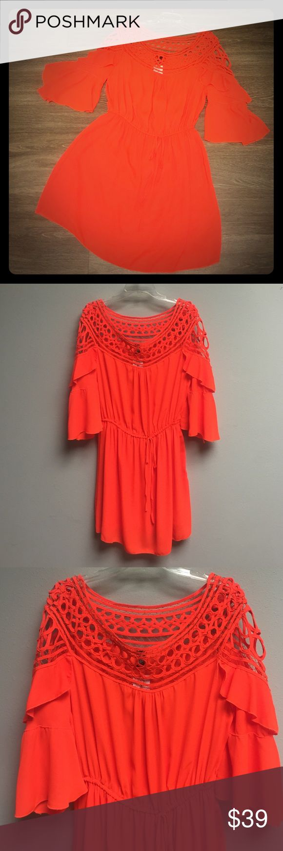 New PLUS SIZE orange dress! Bright orange plus size dress! Wide shoulder, flowy wide 3/4 sleeves! Drawstring around waist! Available in XL, 2XL, 3XL! Dresses Midi