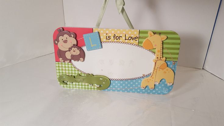 "Fisher Price ""L is for Love"" Giraffe, Monkey, Alligator Wooden Room Decoration #FisherPrice #Jungle"