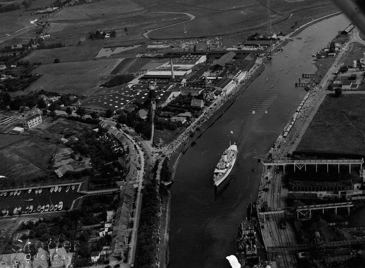 Odense Havn, Kongeskibet Dannebrog, 1950.