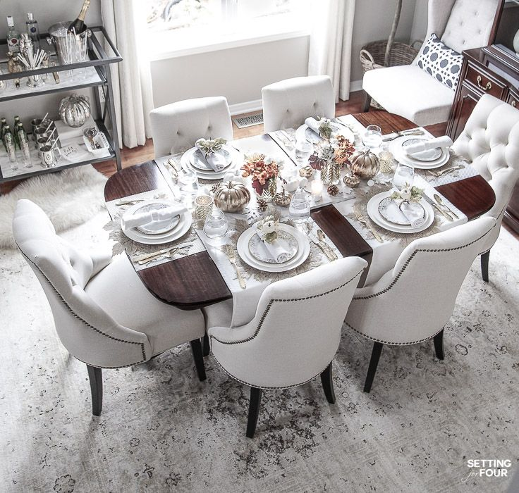 Elegant White Gold Thanksgiving Table Setting Gold Dining Room