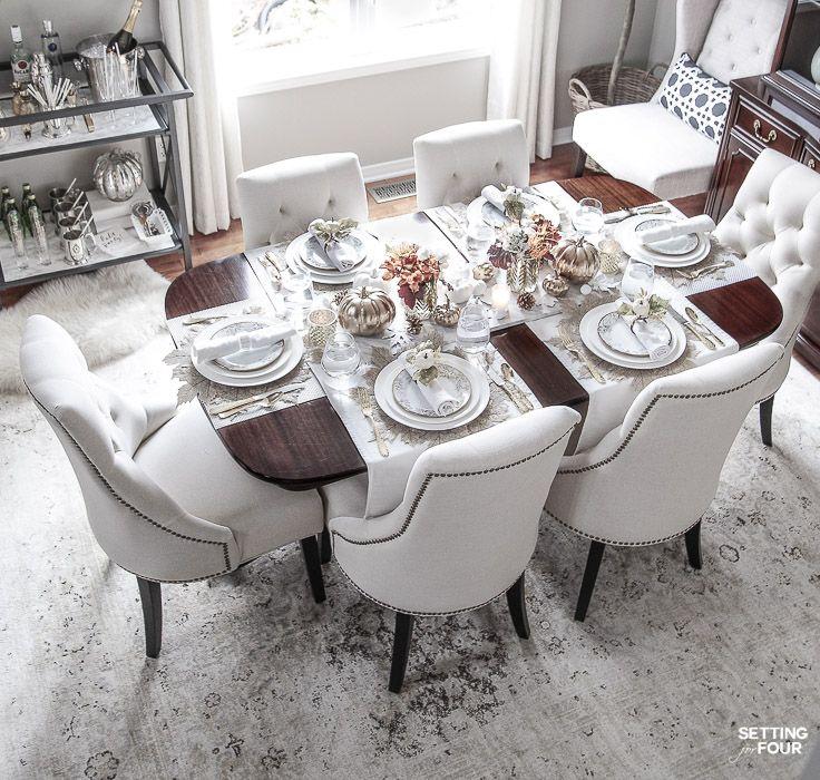 Elegant White Gold Thanksgiving Table Setting White Living Room Tables Dining Room Table Decor Gold Dining Room