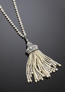 Victorian pearl tassel necklace