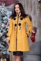 Palton galben mustar din lana brodat cu flori negre • Effect