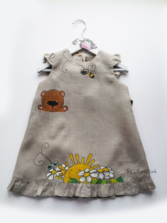 Lace Gray linen Girl Dress hand-painted ready to by InGAartWork
