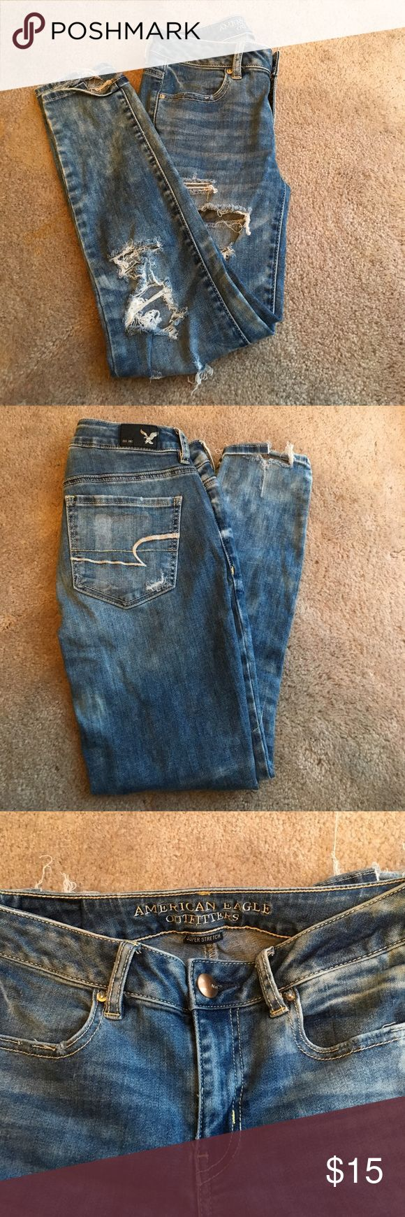 American Eagle ripped jeans Super cute jeans! Very stretchy. Only been worn a couple of times. Look new. American Eagle Outfitters Pants