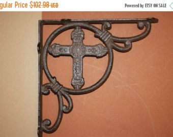 13% OFF 8 pcs)  Old World style shelf brackets, shelf brackets, decorative shelf brackets, cast iron shelf brackets, Cast iron Cross B-22 by wepeddlemetal. Explore more products on http://wepeddlemetal.etsy.com