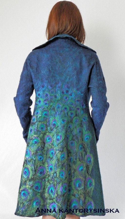 nuno felted coat PEACOCK COAT, wearable art, felted coat, wool coat, nuno felted jacket, silk wool coat, Nuno felt Boho, art to wear by