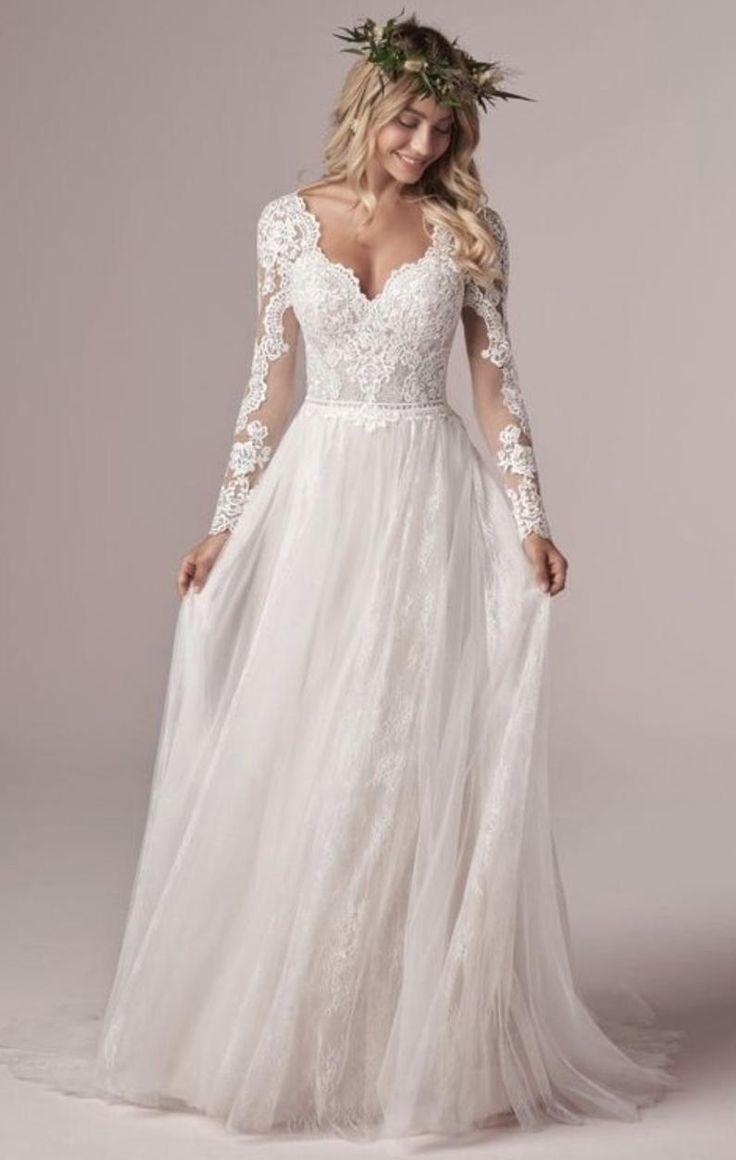 Lace Design Long Sleeve Floor Length Bridal Gown, Floor Length Wedding Dress in 2021 | Boho wedding dress lace, Wedding dress long sleeve, Wedding dresses