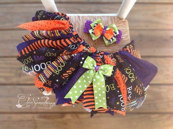 Halloween Fabric Tutu, BOO, Shabby Chic Fabric Tutu, Photo Prop Tutu, Toddler, Halloween tutu, Halloween costume, orange black on Etsy, $32.00