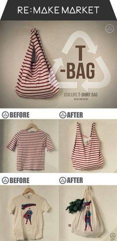 Convertir una camiseta en Ecobolsa para la compra