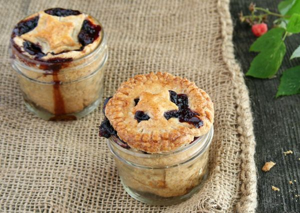 Naturally sweetened, whole wheat, red, golden and wild black raspberry mason jar pies