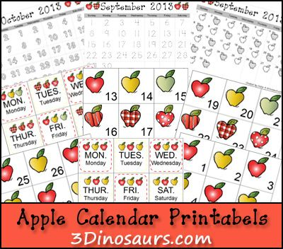 Free Apple Calendar Cards from 3 Dinosaurs
