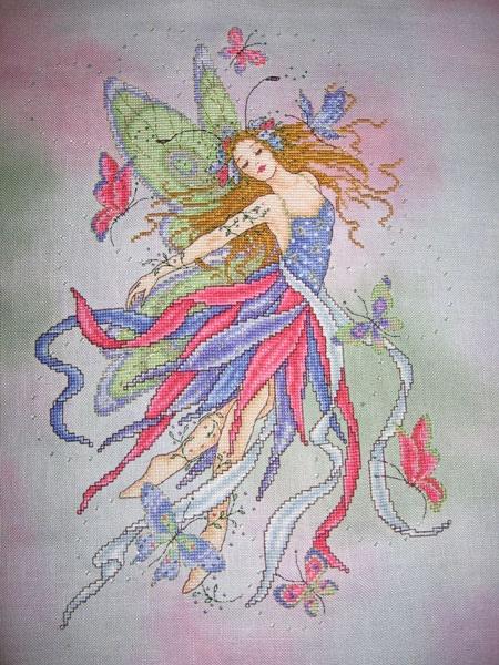 Butterfly Fairy by joan elliott...cross stitched